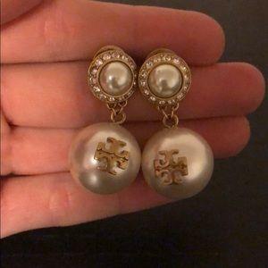{Tory Burch} double pearl drop earrings